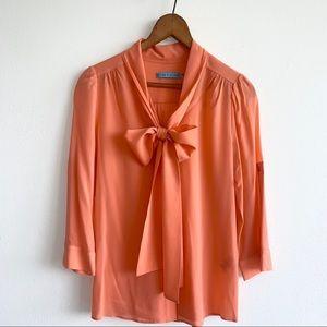 Alice + Olivia bow silk blouse papaya